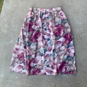 Vintage 90s High Waisted Midi Wide Skirt Floral M